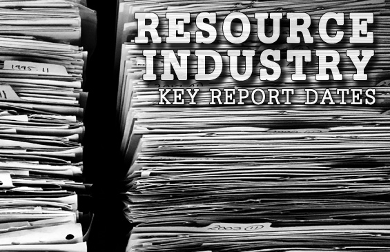 Resource Industry Reporting Calendar 2017